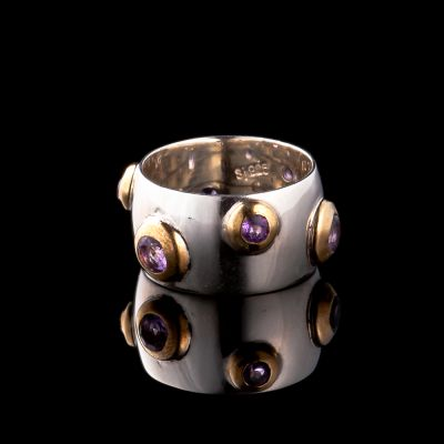 Amethyst And Brass Silver Ring