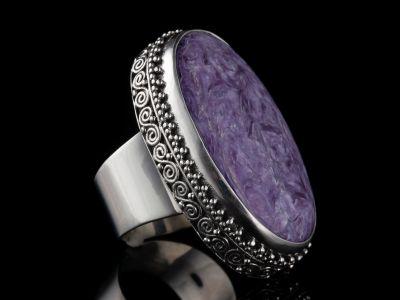 Charoite Silver Ring