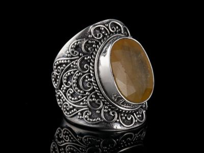 Yellow Apatite Silver Ring