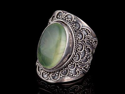Prehnite Silver Ring