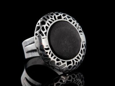 Obsidian silver ring