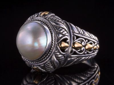 Mother Of Pearl And Gold Silver Ring