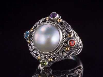 Pearl, mix stone+ , 18K Gold Silver Ring
