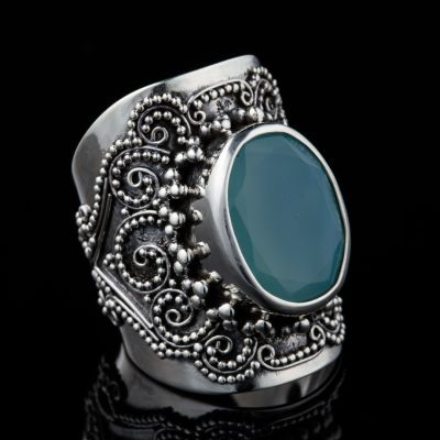 Chalcedony Silver Ring