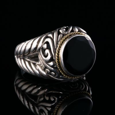 Onyx And Gold Silver Ring