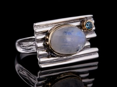 Moonstone And Blue Topaz Silver Ring, Brass