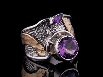 Amethyst, Brass Silver Ring