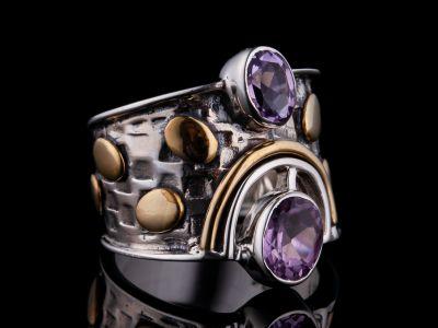 Amethyst Silver Ring, Brass