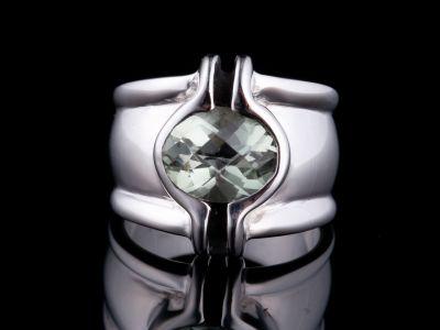 Green Amethyst Silver Ring
