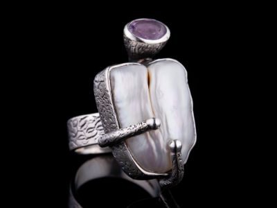 Baroque Pearl And Amethyst Silver Ring