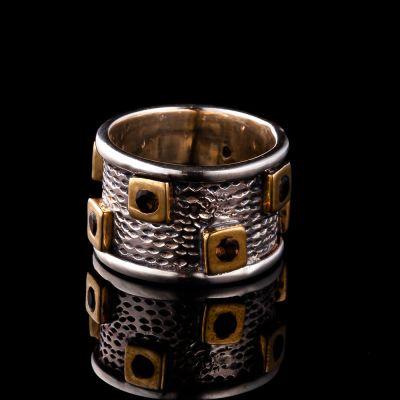 Smoky Quartz Silver Ring With Brass