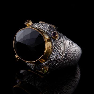Onyx brass silver ring