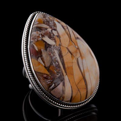 BRACCIATED Mookaite silver ring