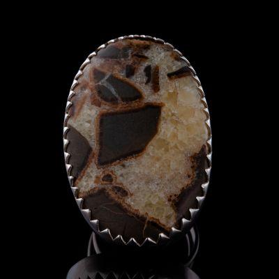 Septarian jasper silver ring