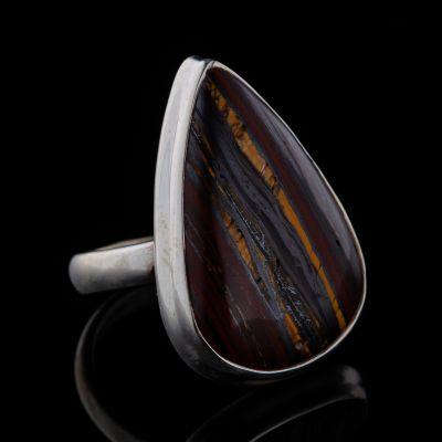 Iron tiger eye silver ring
