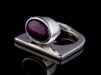 """Self-trust"" silver ring (Ruby)"