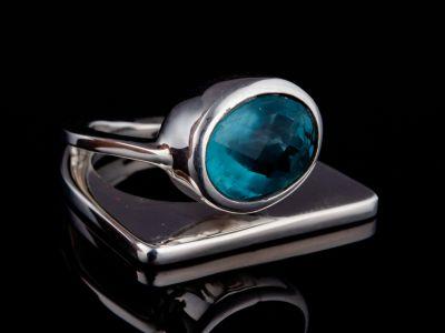 """Self-trust"" apatite silver ring"